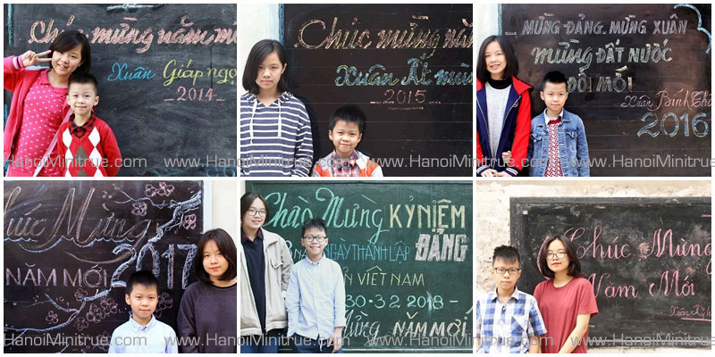 Photos of 2 kids in front of their neighborhood's public board in 6 different Tet holidays.